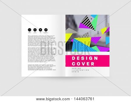 Business Abstract Template Background. Geometric Triangular or Polygonal Surface Structures. Brochure Layout for Annual Report or A4 Booklet. Vector Illustration.
