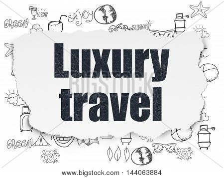 Vacation concept: Painted black text Luxury Travel on Torn Paper background with  Hand Drawn Vacation Icons