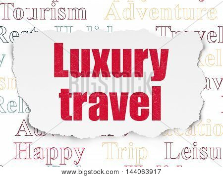 Vacation concept: Painted red text Luxury Travel on Torn Paper background with  Tag Cloud