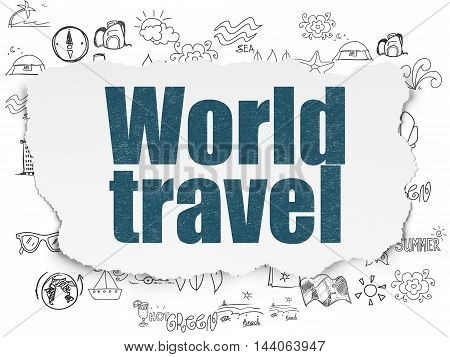 Vacation concept: Painted blue text World Travel on Torn Paper background with  Hand Drawn Vacation Icons