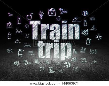 Travel concept: Glowing text Train Trip,  Hand Drawn Vacation Icons in grunge dark room with Dirty Floor, black background