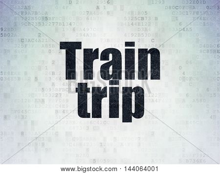 Travel concept: Painted black word Train Trip on Digital Data Paper background