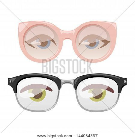 Reading glasses human eye eyesight equipment. Glasses human eye silhouette beauty eyeball people accessory. Optical black lens sight isolated glasses human eye medical fashion focus.