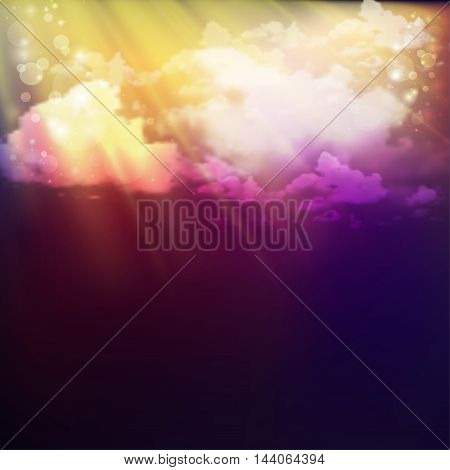 fantastic background with clouds and rays of the sun. Vector illustration with gradient mesh. Mystic night image.