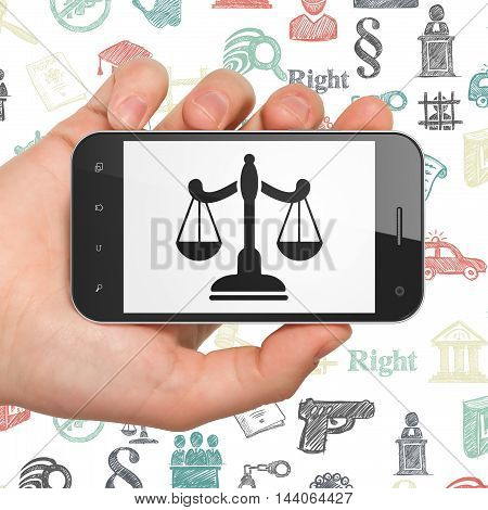 Law concept: Hand Holding Smartphone with  black Scales icon on display,  Hand Drawn Law Icons background, 3D rendering