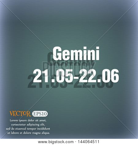 Gemini Icon. On The Blue-green Abstract Background With Shadow And Space For Your Text. Vector
