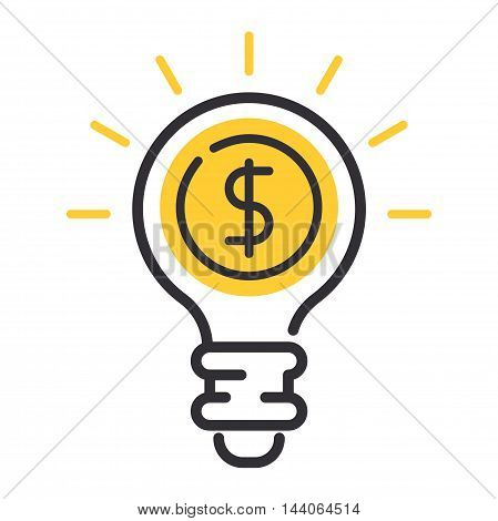 Vector money lamp idea and business success icon related to management money progress and business process. Mono line money lamp motivation icon pictogram