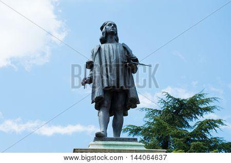 Raphael's statue in Urbino close up - Italian artist