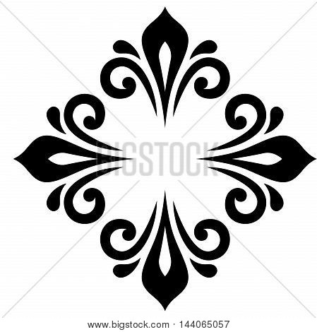Elegant vector black ornament in the style of barogue. Abstract traditional pattern with oriental elements