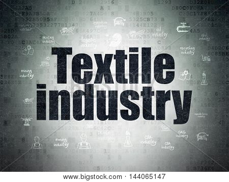 Industry concept: Painted black text Textile Industry on Digital Data Paper background with  Hand Drawn Industry Icons