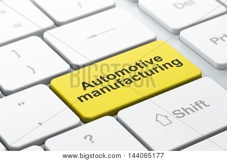 Industry concept: computer keyboard with word Automotive Manufacturing, selected focus on enter button background, 3D rendering