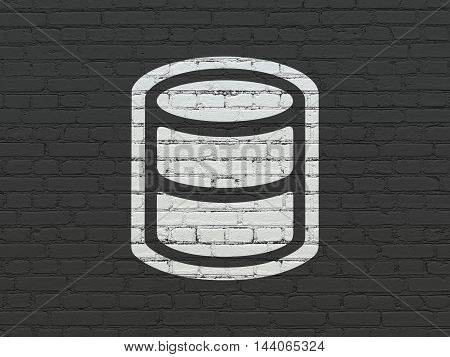 Software concept: Painted white Database icon on Black Brick wall background