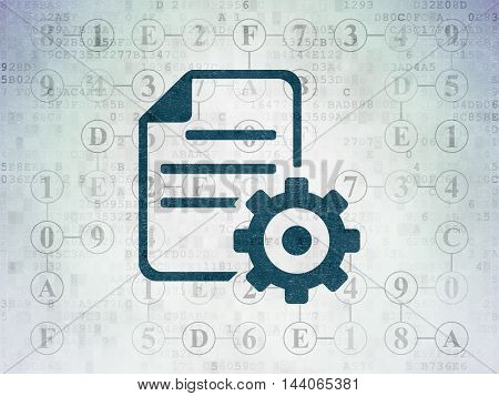 Programming concept: Painted blue Gear icon on Digital Data Paper background with Scheme Of Hexadecimal Code