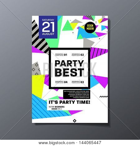 Party Flyer Template. Abstract Geometric Background Design. Vector Illustration.
