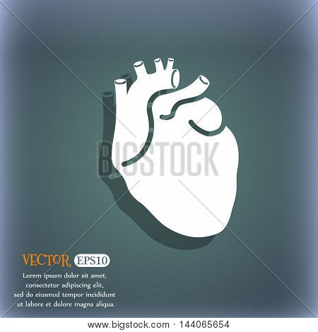 Human Heart Icon. On The Blue-green Abstract Background With Shadow And Space For Your Text. Vector