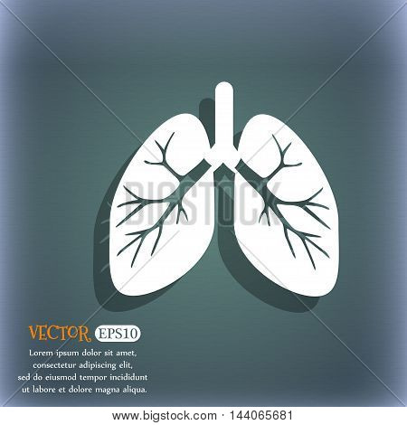 Lungs Icon. On The Blue-green Abstract Background With Shadow And Space For Your Text. Vector