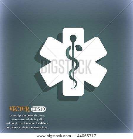 Medicine Icon. On The Blue-green Abstract Background With Shadow And Space For Your Text. Vector