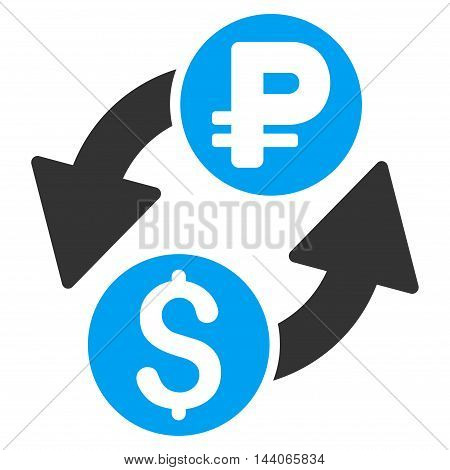 Dollar Rouble Exchange icon. Vector style is bicolor flat iconic symbol with rounded angles, blue and gray colors, white background.