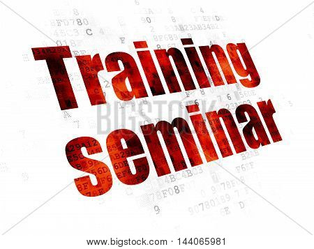 Learning concept: Pixelated red text Training Seminar on Digital background