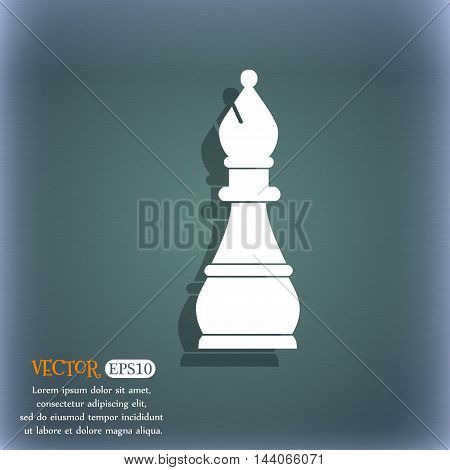 Chess Bishop Icon. On The Blue-green Abstract Background With Shadow And Space For Your Text. Vector
