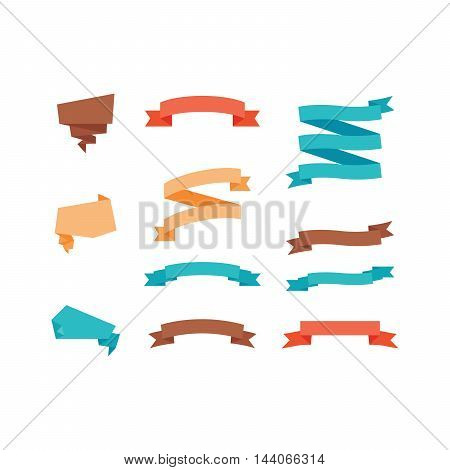 Different colorful ribbons in trendy style set isolated on white. Vector illustration