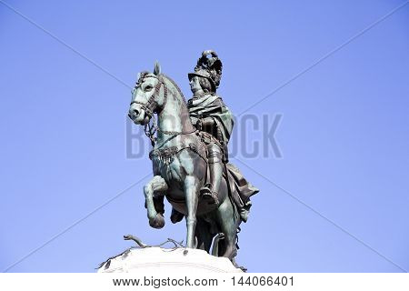 View of King Dom Jose equestrian statue in Commerce Square in Lisbon Portugal