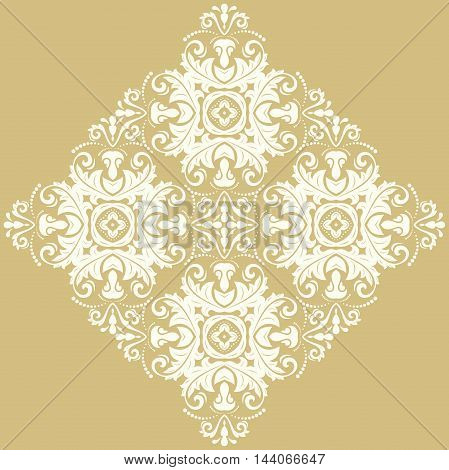 Elegant vector white ornament in the style of barogue. Abstract traditional pattern with oriental elements
