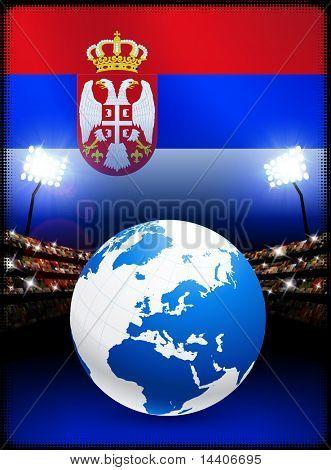 Globo en el fondo del estadio con Ilustración Original de la bandera de Serbia