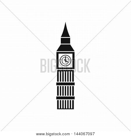 Big Ben clock icon in simple style isolated on white background. Attractions symbol