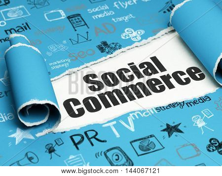 Advertising concept: black text Social Commerce under the curled piece of Blue torn paper with  Hand Drawn Marketing Icons, 3D rendering
