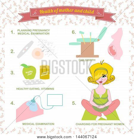 Vector illustration of a set healthy food for pregnant women,