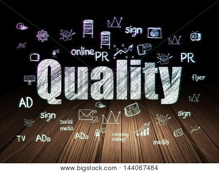 Marketing concept: Glowing text Quality,  Hand Drawn Marketing Icons in grunge dark room with Wooden Floor, black background
