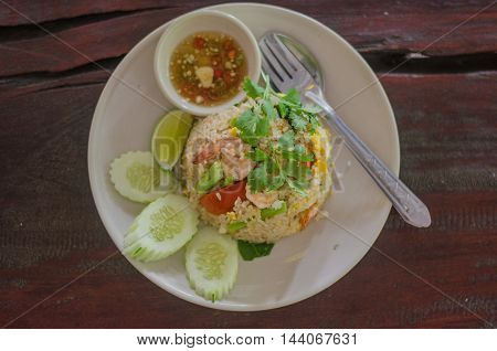 Shrimp fried rice Thai food menu for lunch