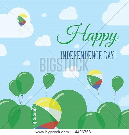 Comoros Independence Day Flat Patriotic Design. Comoran Flag Balloons. Happy National Day Vector Car