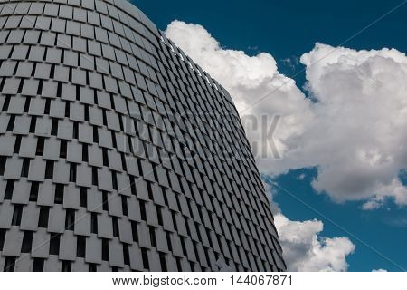 MILANO, ITALY - MAY 2015: Detail of Futuristic Megastructure: Silver Building Facade at Exposition in Milan - Italy
