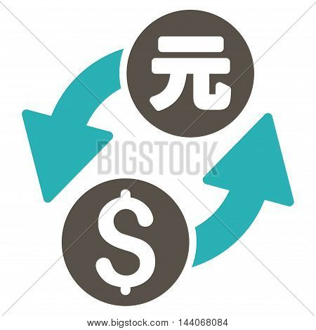 Dollar Yuan Exchange icon. Glyph style is bicolor flat iconic symbol with rounded angles, grey and cyan colors, white background.