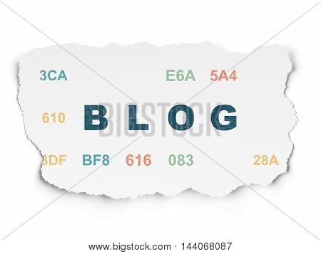 Web design concept: Painted blue text Blog on Torn Paper background with  Hexadecimal Code