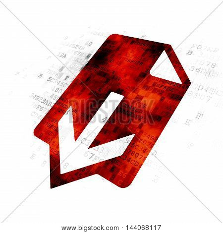 Web design concept: Pixelated red Download icon on Digital background