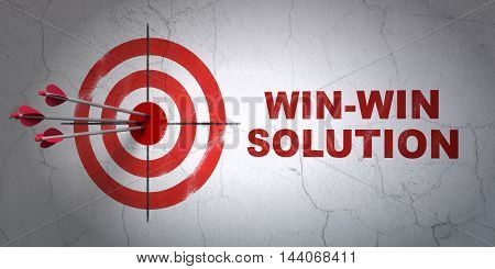 Success business concept: arrows hitting the center of target, Red Win-win Solution on wall background, 3D rendering