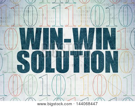 Business concept: Painted blue text Win-win Solution on Digital Data Paper background with Binary Code