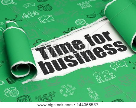 Finance concept: black text Time for Business under the curled piece of Green torn paper with  Hand Drawn Business Icons, 3D rendering