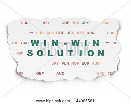 Finance concept: Painted green text Win-win Solution on Torn Paper background with  Currency