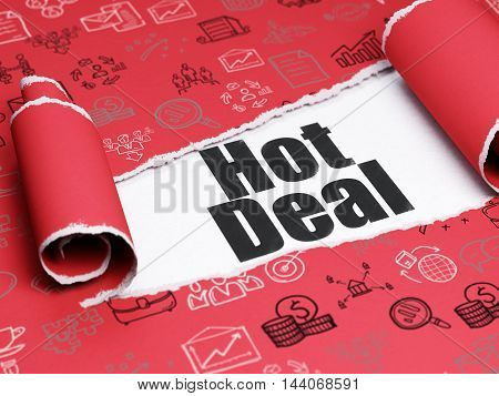 Business concept: black text Hot Deal under the curled piece of Red torn paper with  Hand Drawn Business Icons, 3D rendering