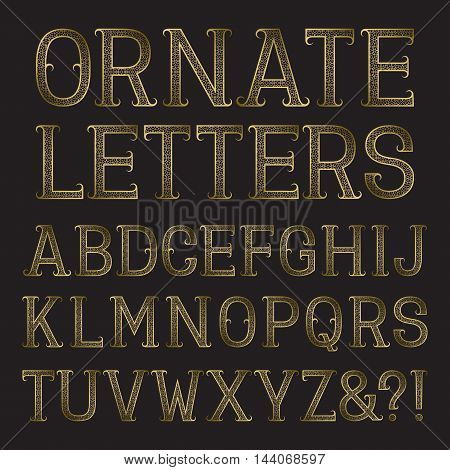 Golden ornate capital letters with tendrils. Decorative patterned vintage font. Isolated latin alphabet.
