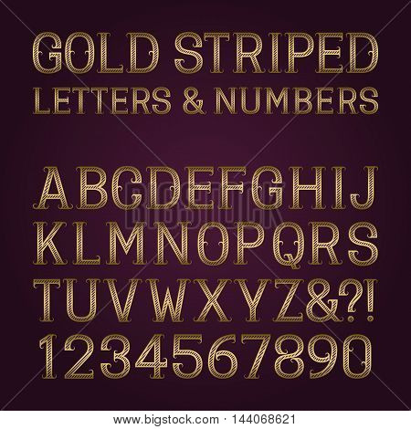 Golden striped letters and numbers with flourishes. Diagonal stripes vintage font. Isolated latin alphabet with figures.