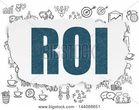Business concept: Painted blue text ROI on Torn Paper background with  Hand Drawn Business Icons