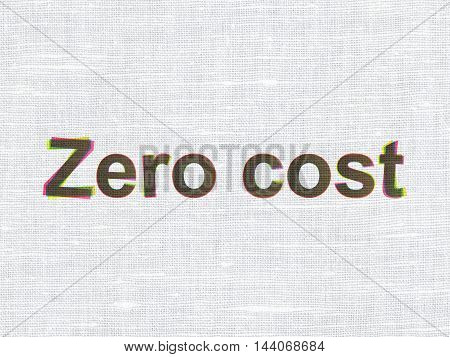 Business concept: CMYK Zero cost on linen fabric texture background