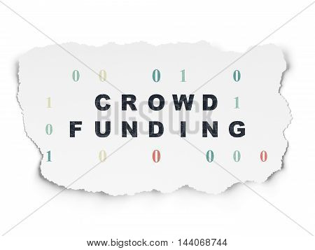 Finance concept: Painted black text Crowd Funding on Torn Paper background with  Binary Code