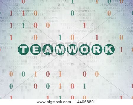 Finance concept: Painted green text Teamwork on Digital Data Paper background with Binary Code