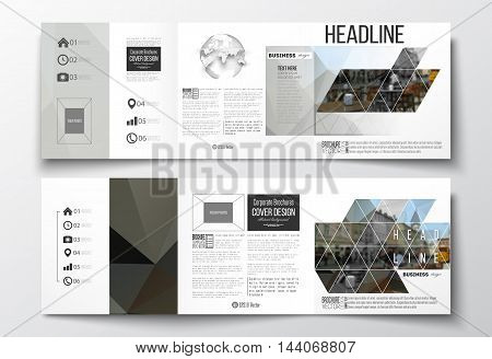 Vector set of tri-fold brochures, square design templates with element of world globe. Polygonal background, blurred image, urban landscape, cityscape, modern triangular texture